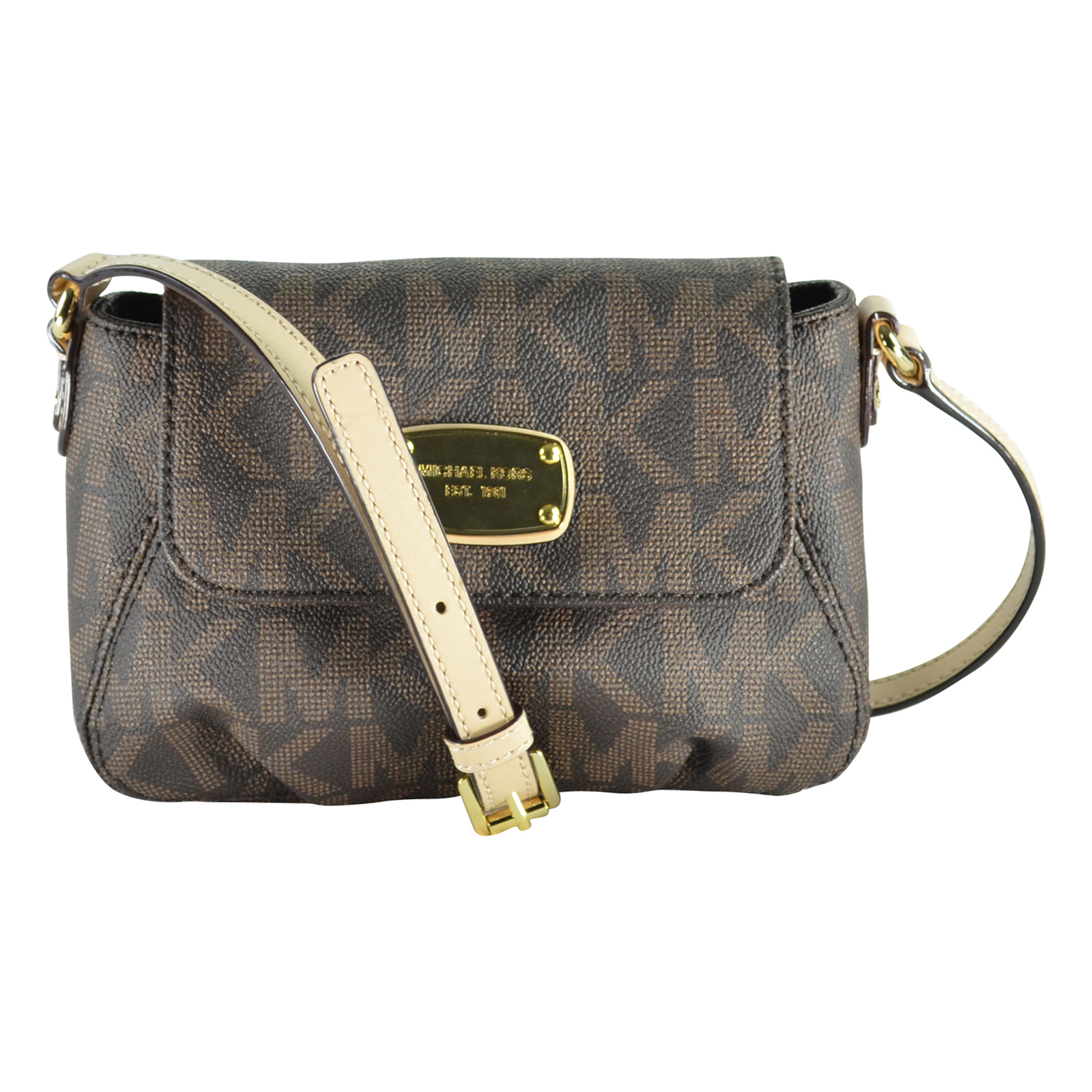 auth michael kors leather signature pvc small flap